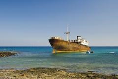 Schipbreuk in Arrecife (Lanzarote) Royalty-vrije Stock Foto's