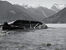 Schipbreuk in ijzige overzees Stock Foto's