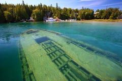 Schipbreuk onderwater in meer Huron, Tobermory royalty-vrije stock afbeelding