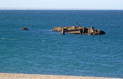 Schipbreuk op de kust van Punta Loma, Argentinië Royalty-vrije Stock Foto
