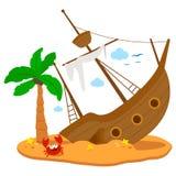 Schipbreuk op een eiland Vector illustratie stock illustratie
