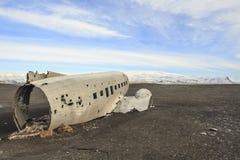 Schipbreuk van een vliegtuig: noodlanding in IJsland Royalty-vrije Stock Afbeeldingen