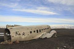 Schipbreuk van een vliegtuig: noodlanding in IJsland Stock Fotografie