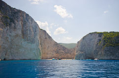 Schipbreukstrand op het eiland van Zakynthos, Griekenland stock afbeeldingen