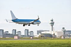Schiphol airport in the Netherlands. With an airplane landing Royalty Free Stock Images