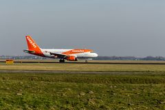 Schiphol Airport, North Holland/The Netherlands - February 16 2019: EasyJet Airbus A319-100 G-EZDJ stock photography