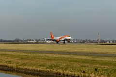 Schiphol Airport, North Holland/The Netherlands - February 16 2019: EasyJet Airbus A319-100 G-EZFZ stock photography