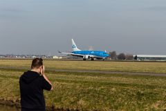 Schiphol Airport, North Holland/The Netherlands - February 16 2019: KLM Boeing 737-700 PH-BGI stock photography