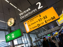 Schiphol Amsterdam Airport departure terminal signs, Holland Stock Photo