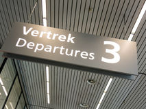 Schiphol Amsterdam Airport departures sign, Holland Stock Photography