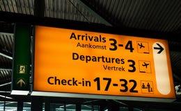 schiphol lotniskowy signboard Zdjęcie Stock