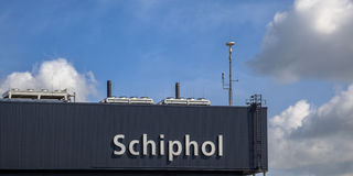 Schiphol sign on Terminal Stock Photo