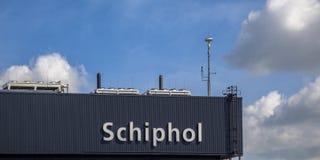 Schiphol znak na Terminal Zdjęcie Stock
