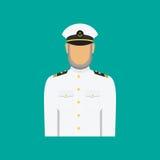 Schipkapitein in eenvormig in vlakke stijl Vector illustratie Royalty-vrije Stock Afbeeldingen