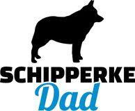 Schipperke dad silhouette. With blue word Royalty Free Stock Photo