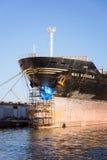 Schipreparatie in de scheepswerf Stock Afbeelding