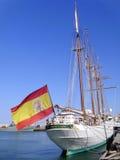Schipschool Juan Sebastian de Elcano in Cadiz royalty-vrije stock afbeeldingen