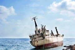 Schipwrak in Cyprus stock afbeelding