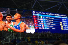 Schirm der Olympics Rio2016 mit Ergebnissen Lizenzfreie Stockbilder