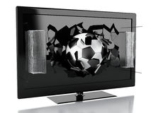 Schirm Fernsehen3d mit Fußball und Netztor Stockbild