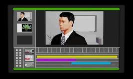 Schirm mit der Videobearbeitungs-Software, die auf ihr und einer Zeichnung eines Mannes aktiv ist stock abbildung