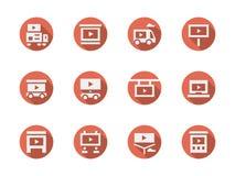 Schirme für die Werbung von den roten runden Ikonen eingestellt Lizenzfreies Stockfoto
