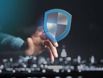 Schirmen Sie das Symbol ab, das auf einer futuristischen Schnittstelle - Sicherheit angezeigt wird und Stockfotografie