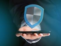 Schirmen Sie das Symbol ab, das auf einer futuristischen Schnittstelle - Sicherheit angezeigt wird und Lizenzfreie Stockfotografie