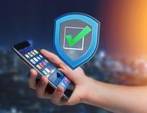 Schirmen Sie das Symbol ab, das auf einer futuristischen Schnittstelle - Sicherheit angezeigt wird und Lizenzfreies Stockfoto