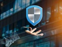 Schirmen Sie das Symbol ab, das auf einer futuristischen Schnittstelle - Sicherheit angezeigt wird und Lizenzfreie Stockfotos