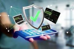 Schirmen Sie das Symbol ab, das durch Geräte umgeben werden und das Netz, das auf einem f angezeigt wird Lizenzfreie Stockfotografie