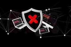 Schirmen Sie das Symbol ab, das durch Geräte umgeben werden und das Netz, das auf einem f angezeigt wird Lizenzfreie Stockbilder