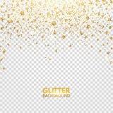Schitter confettien Het goud schittert vallend op transparante achtergrond Ontwerp van de Kerstmis het heldere flikkering Het glo stock illustratie