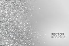Schitter confettien, sneeuw die van de kant vallen Vector zilveren stof, explosie op grijze achtergrond Fonkelende grens, kader stock afbeelding