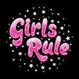 Schitter de Regel van tekstmeisjes Trekkend voor jonge geitjes kleren, t-shirts, stoffen of verpakking of embleem Roze woorden me royalty-vrije illustratie