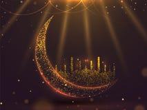 Schitter effect toenemende maan met moskee op glanzende bruine achtergrond voor Islamitisch Festival royalty-vrije illustratie