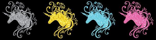 Schitter eps van de eenhoorn vectorbeelden van het eenhoorn hoofdsilhouet vastgestelde van de de klemkunst van de eenhoorn jpg ro vector illustratie