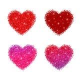 Schitter glanzende harten met fonkelingen Vector illustratie die op witte achtergrond wordt geïsoleerdd Royalty-vrije Stock Afbeelding