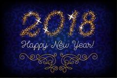 Schitter goud die Gelukkige Nieuwjaaruitnodiging van letters voorzien Royalty-vrije Stock Afbeelding