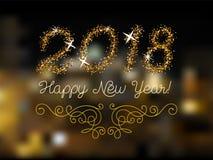 Schitter goud die Gelukkige Nieuwjaaruitnodiging van letters voorzien Royalty-vrije Stock Foto's