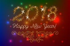 Schitter goud die Gelukkige Nieuwjaaruitnodiging van letters voorzien Stock Foto's