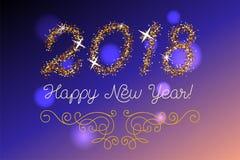 Schitter goud die Gelukkige Nieuwjaaruitnodiging van letters voorzien Royalty-vrije Stock Afbeeldingen