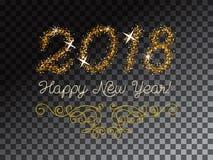 Schitter goud die Gelukkige Nieuwjaaruitnodiging van letters voorzien Stock Fotografie