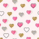 Schitter goud en waterverf roze harten naadloos patroon De achtergrond van de valentijnskaartendag De heldere confettien van het  royalty-vrije illustratie