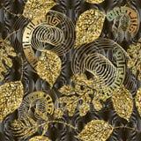 Schitter gouden glanzend bladeren vector naadloos patroon Moderne geweven bladachtergrond Herhaal sier moderne bloemenachtergrond vector illustratie