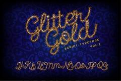 Schitter Gouden Met de hand geschreven alfabet royalty-vrije illustratie
