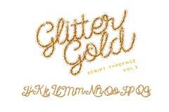 Schitter Gouden Met de hand geschreven alfabet royalty-vrije stock foto