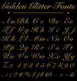 Schitter Gouden Met de hand geschreven Doopvonten, Alfabet, Aantal op Zwarte Rug Stock Foto's