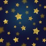 Schitter gouden sterrenachtergrond Stock Afbeeldingen