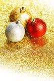 Schitter Kerstmisballen Royalty-vrije Stock Foto's